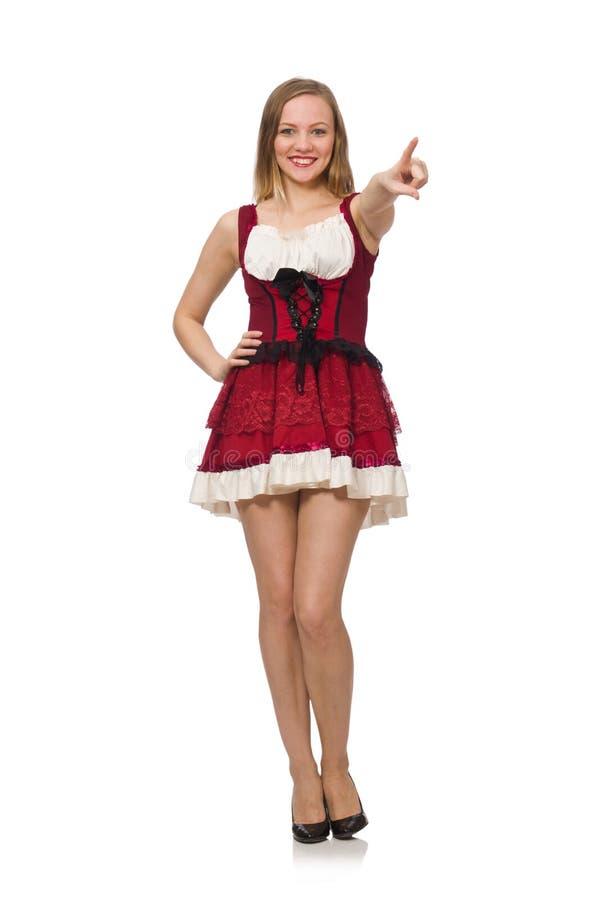 Женщина нося красное платье в концепции моды стоковое фото