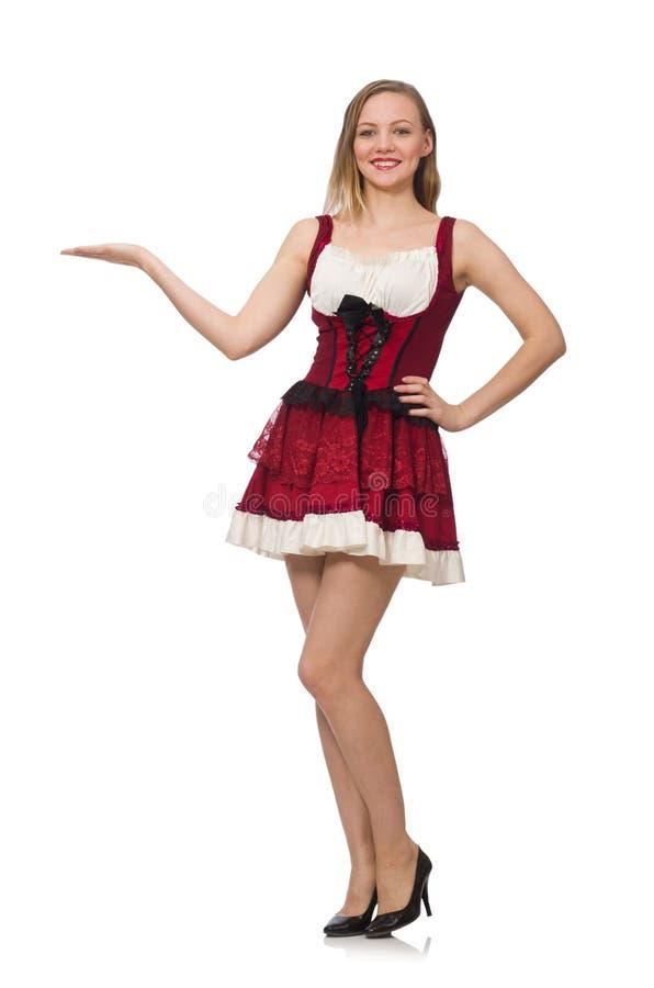 Женщина нося красное платье в концепции моды стоковое изображение