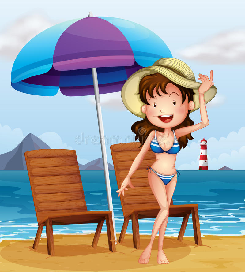 Женщина нося купальник нашивки на пляже бесплатная иллюстрация