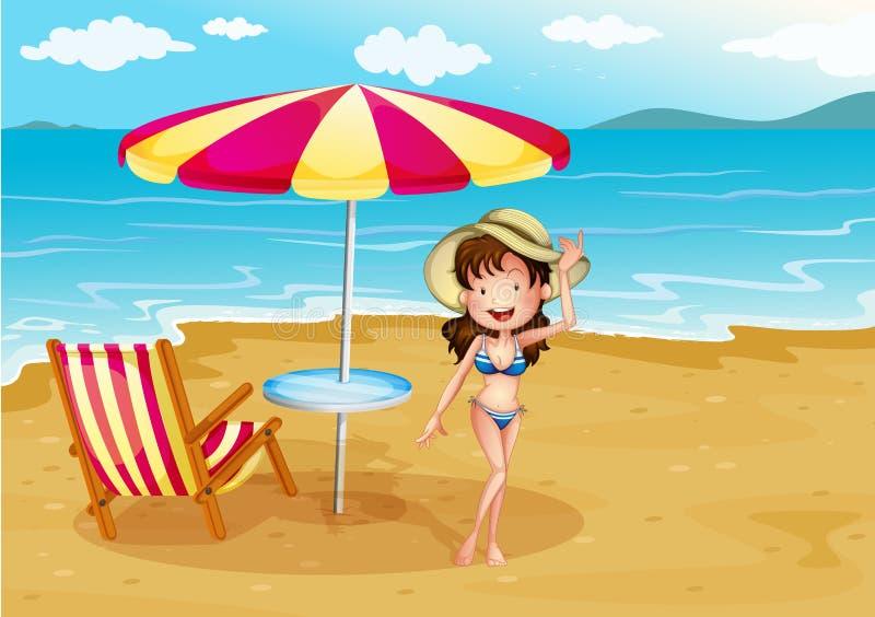 Женщина нося купальник нашивки на пляже иллюстрация штока