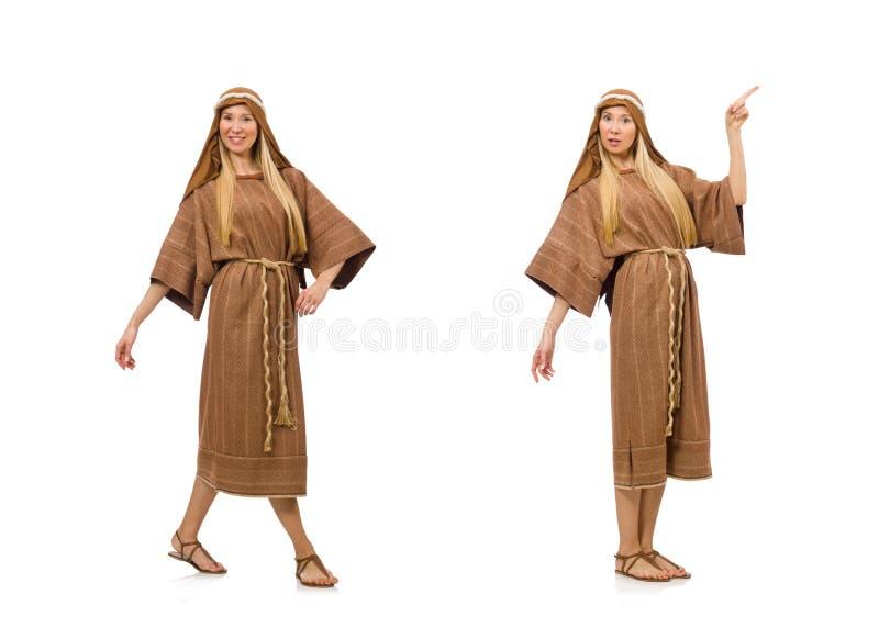 Женщина нося средневековую арабскую одежду на белизне стоковые фото