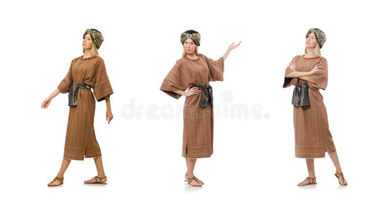 Женщина нося средневековую арабскую одежду на белизне стоковое изображение rf