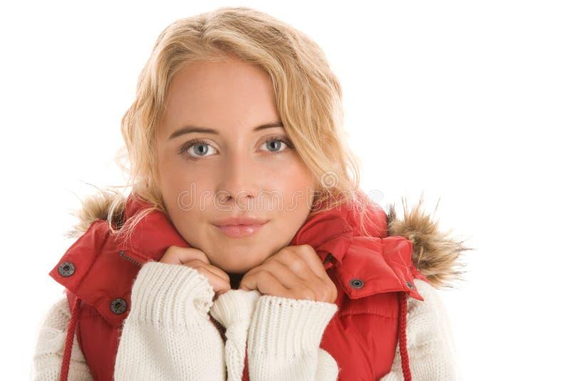 Женщина нося теплые одежды стоковые изображения rf