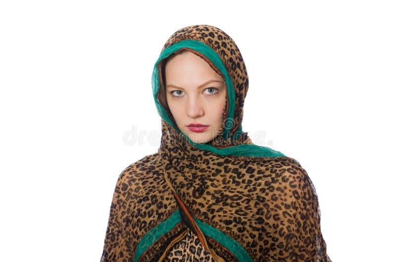 Женщина нося традиционную одежду на белизне стоковое изображение
