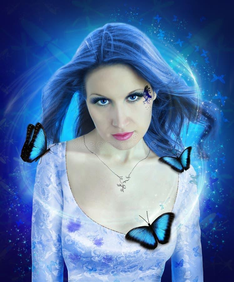 женщина ночи коллажа бабочки стоковое изображение rf
