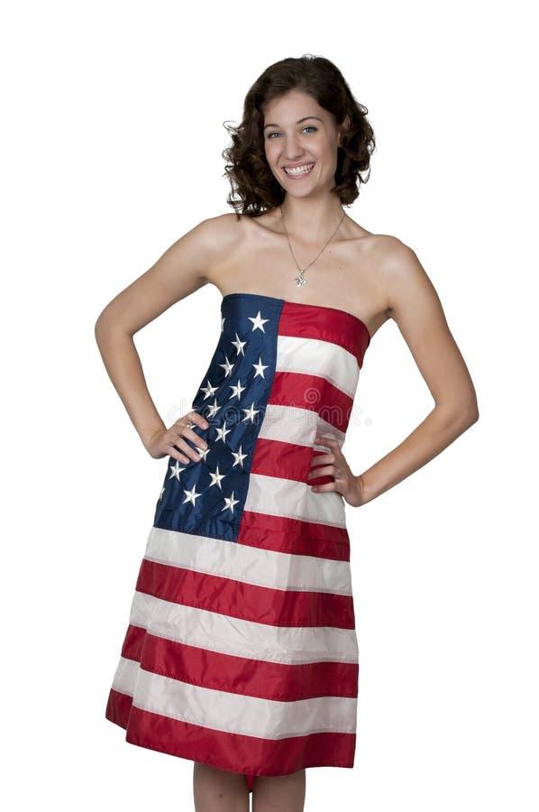 Женщина обернутая в флаге стоковое фото