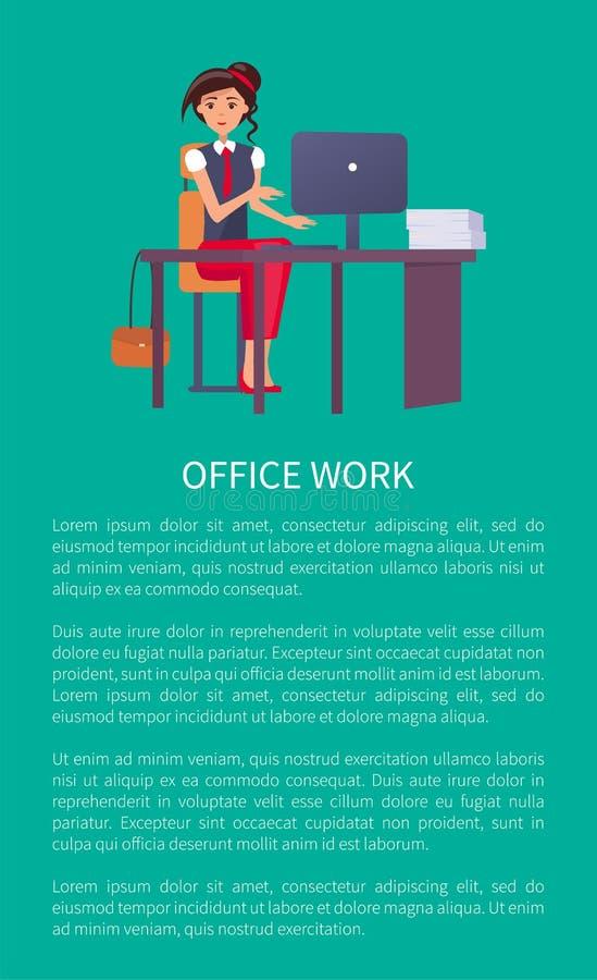 Женщина образца текста знамени конторской работы на рабочем месте бесплатная иллюстрация