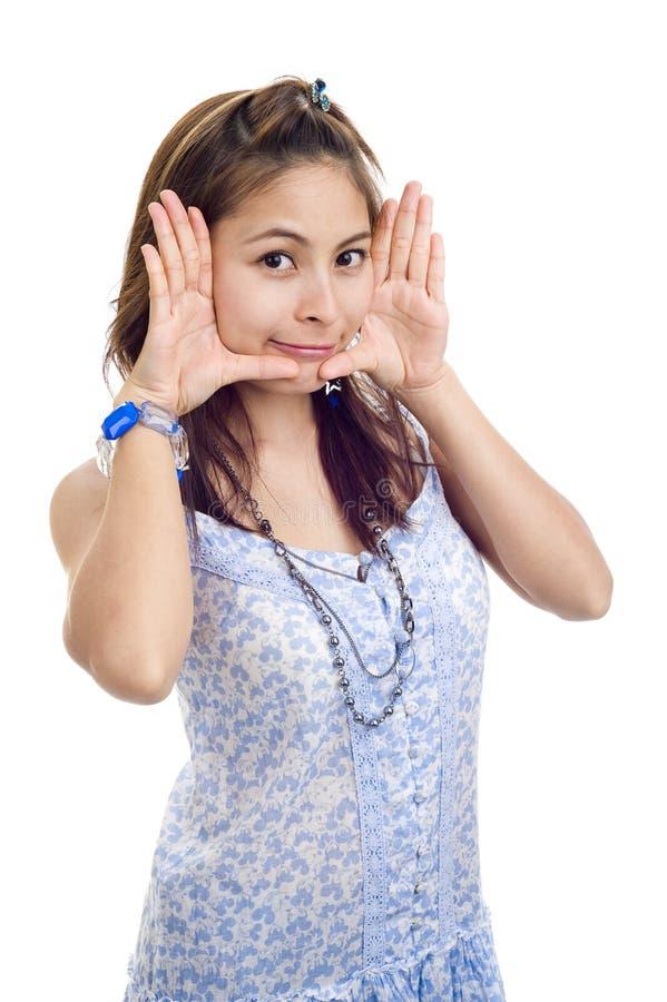 женщина обрамленная стороной милая стоковые фото