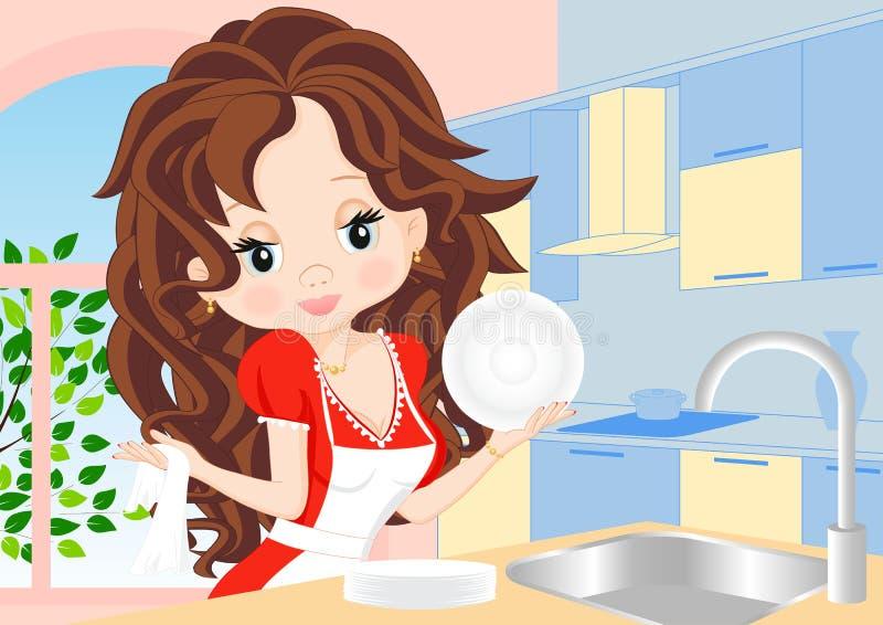 Женщина обтирает тарелки в кухне бесплатная иллюстрация