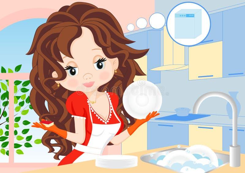 Женщина обтирает тарелки в кухне иллюстрация вектора