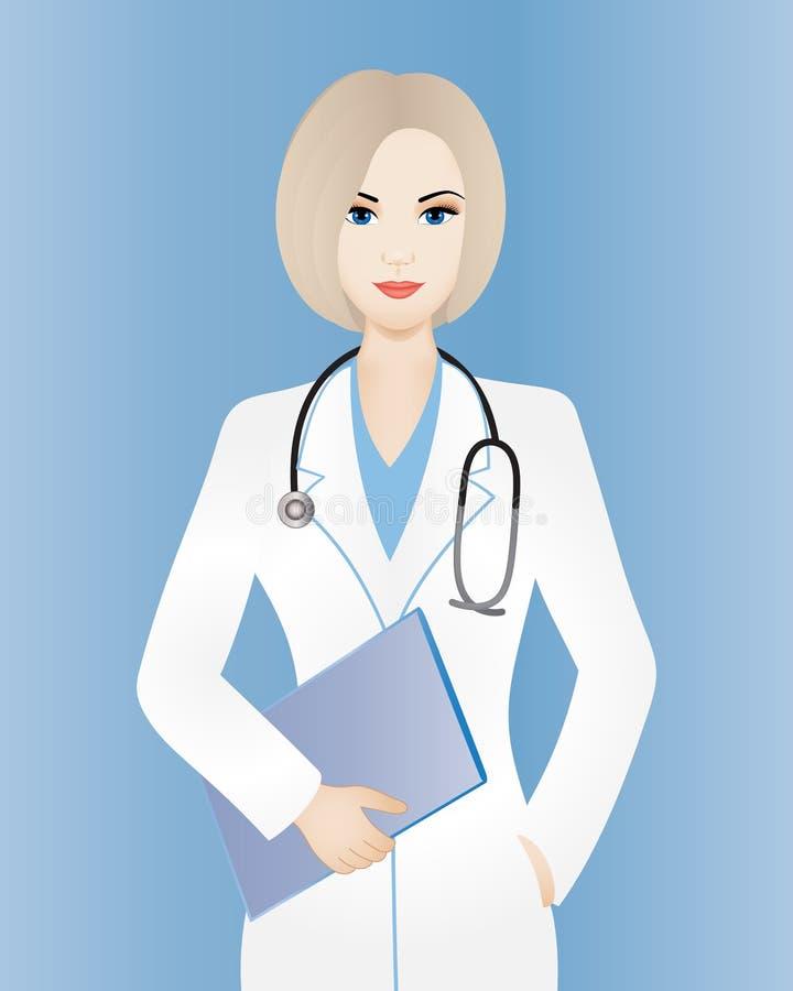 Женщина доктора с доской сзажимом для бумаги иллюстрация штока