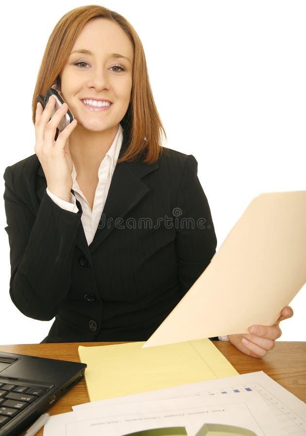 женщина отчете о телефона дела стоковое изображение rf