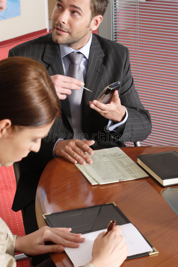женщина офиса бизнесмена говоря стоковые изображения