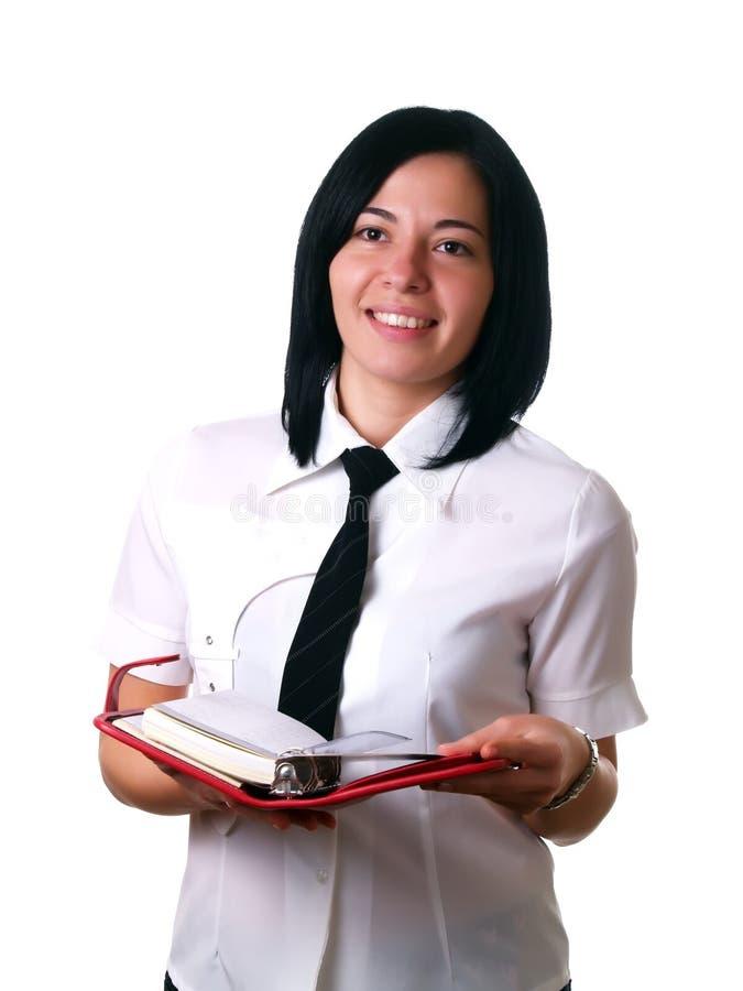 женщина офиса удерживания календара стоковые изображения