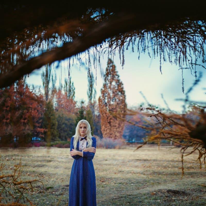 Женщина одела в пребываниях голубых винтажных платья в парке осени стоковое изображение