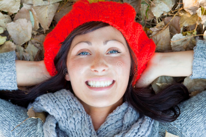 женщина падения atumn стоковое фото