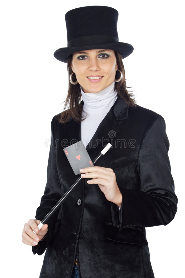 женщина палочки привлекательного шлема дела волшебная стоковая фотография