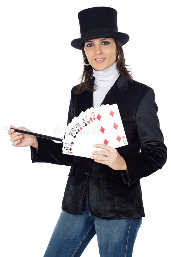 женщина палочки привлекательного шлема дела волшебная стоковые фотографии rf