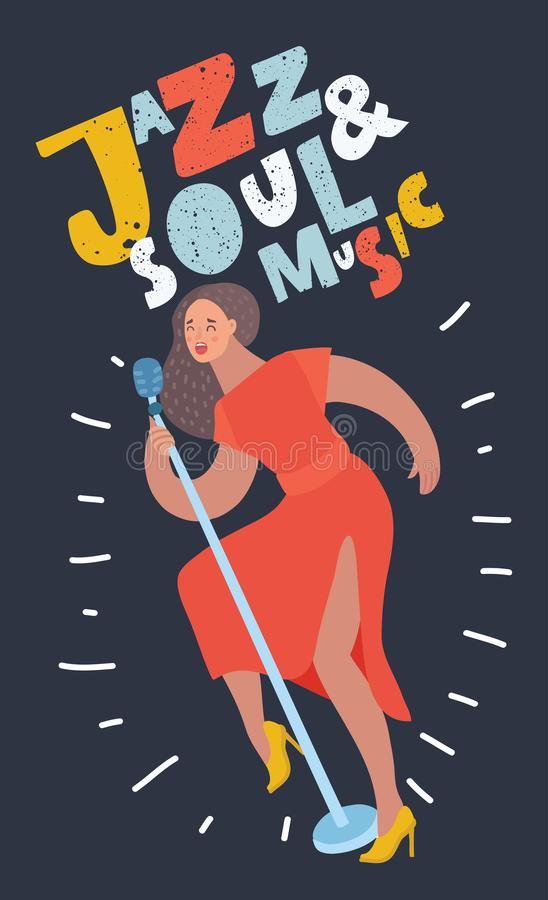 Женщина певицы джаза в предпосылке круга иллюстрация вектора