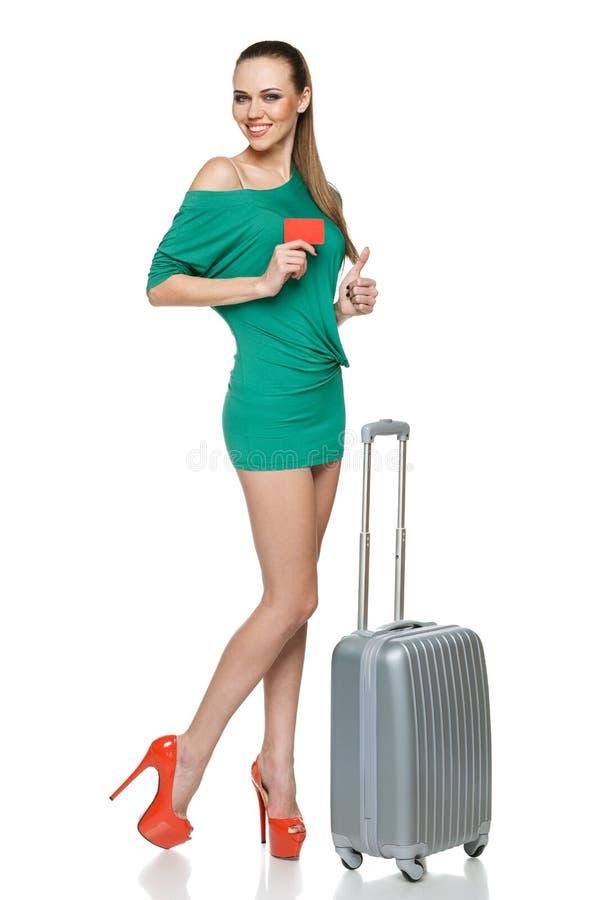 Женщина перемещения лета стоковая фотография rf