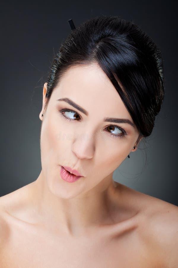 женщина пересеченных глаз смешная стоковая фотография rf