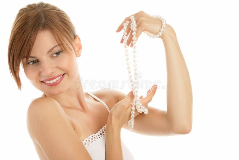 женщина перлы ожерелья стоковое изображение rf