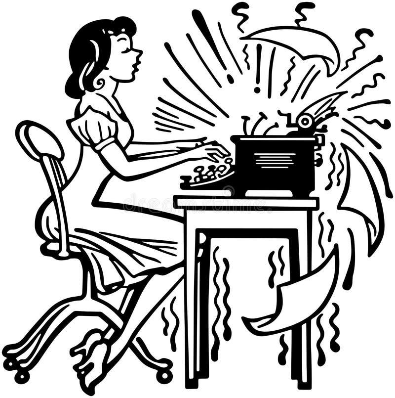 Женщина печатая сумашедше иллюстрация вектора