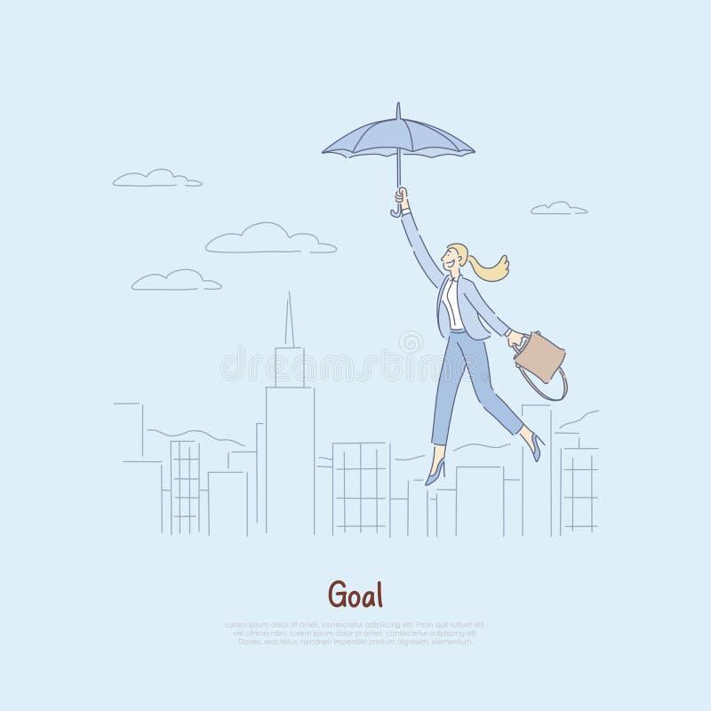 Женщина плавая на зонтик над городом, получая воодушевила для того чтобы завоевать успех, личный рост, достижения, собственная ли иллюстрация вектора