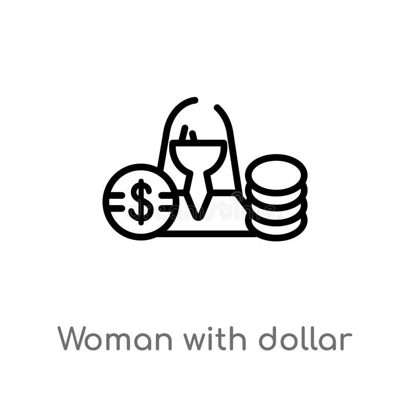 женщина плана со значком вектора круга доллара изолированная черная простая линия иллюстрация элемента от концепции дела editable бесплатная иллюстрация