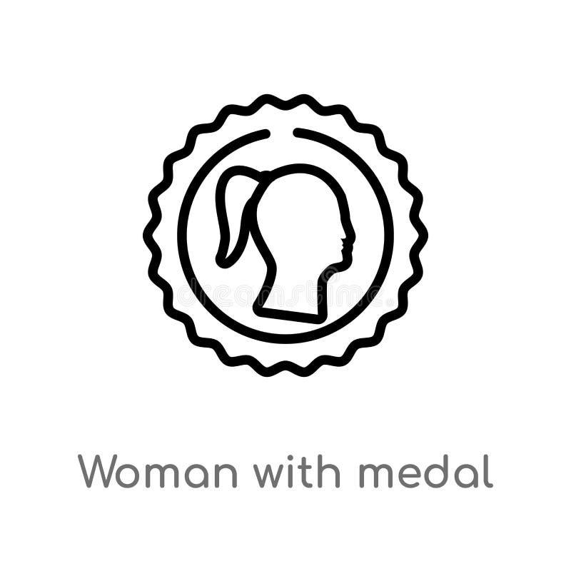 женщина плана со значком вектора медали изолированная черная простая линия иллюстрация элемента от концепции знаков Editable ход  иллюстрация вектора