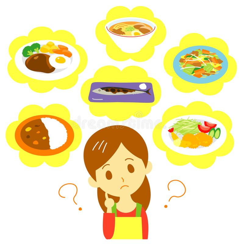 Женщина планирования еды иллюстрация штока