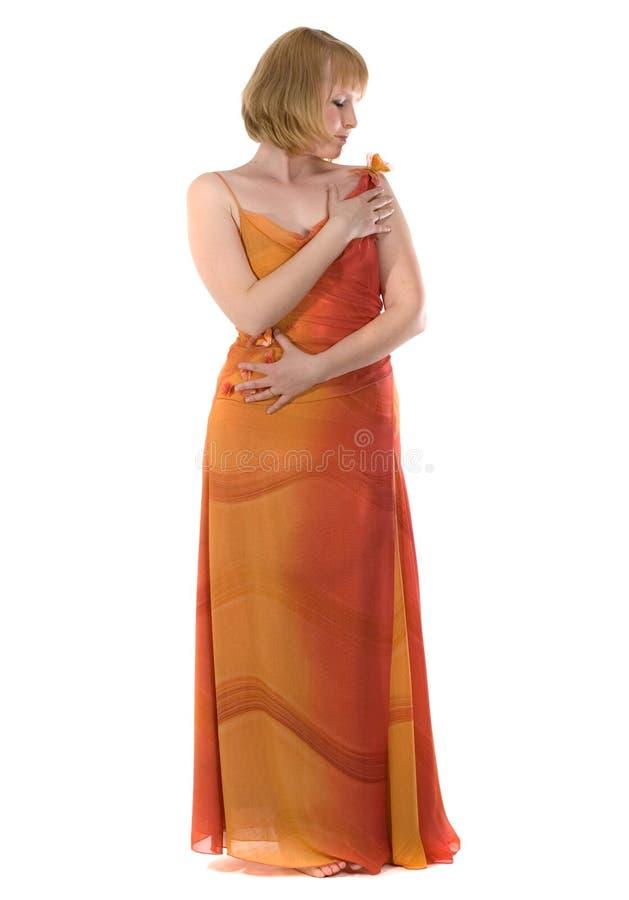 женщина платья длинняя красная стоковое изображение