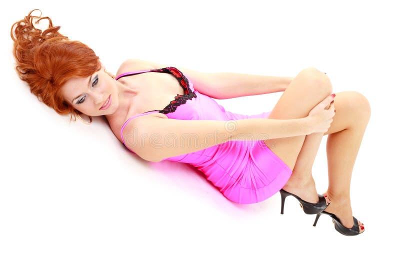 женщина платья маленькая розовая стоковое фото rf