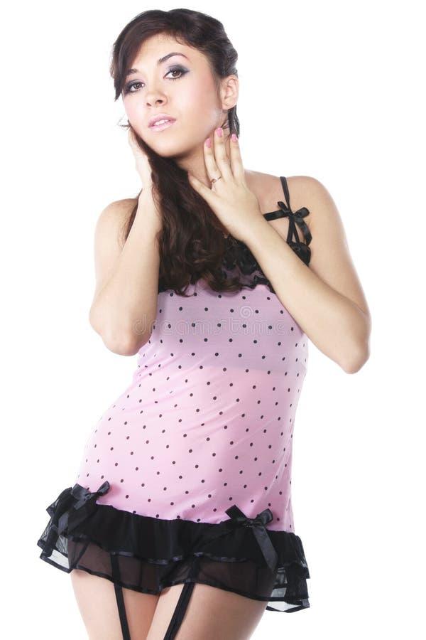 женщина платья розовая стоковая фотография