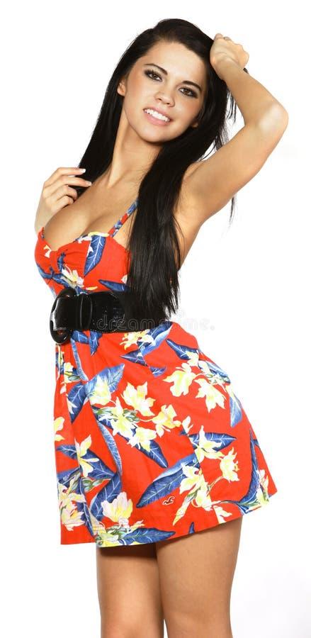 женщина платья счастливая стоковые фотографии rf