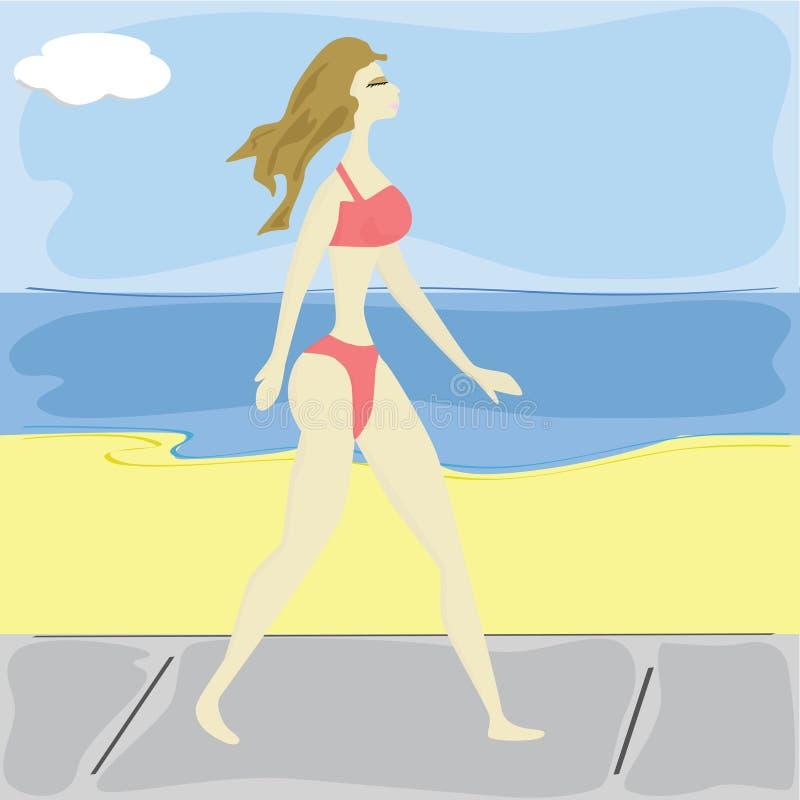 женщина пляжа близкая гуляя иллюстрация вектора