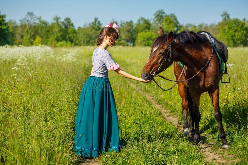 Женщина подает лошадь с животным фаворита рук стоковые изображения rf