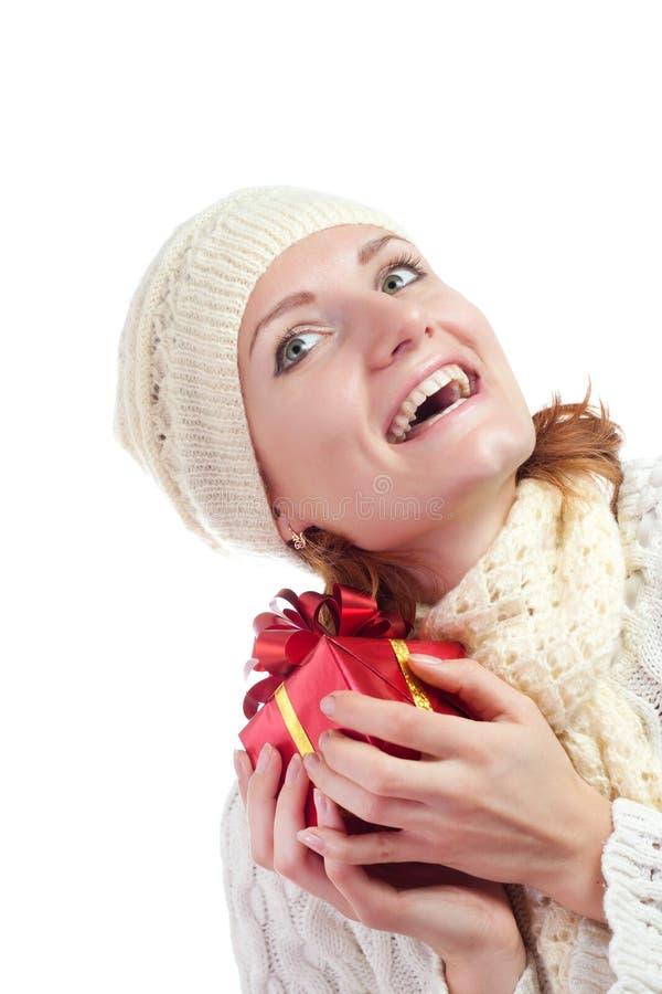 женщина подарка счастливая сь стоковая фотография rf