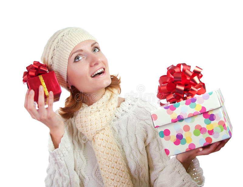 женщина подарков счастливая сь стоковое фото
