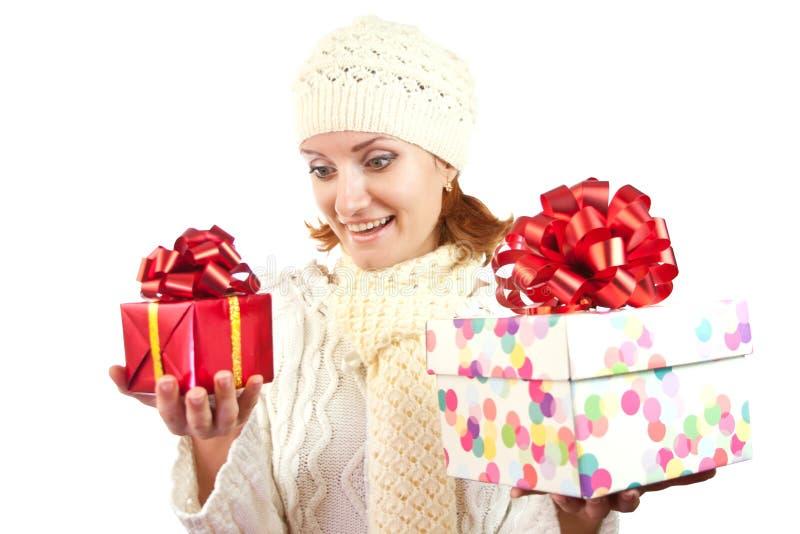 женщина подарков счастливая ся стоковое изображение rf