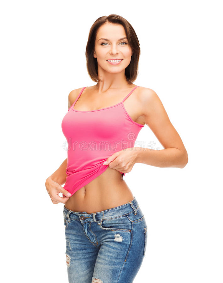 Женщина показывая abs стоковое изображение