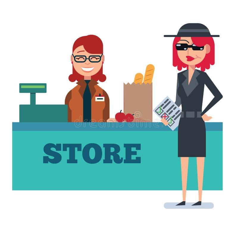 Женщина покупателя тайны в пальто шпионки проверяет гастроном бесплатная иллюстрация