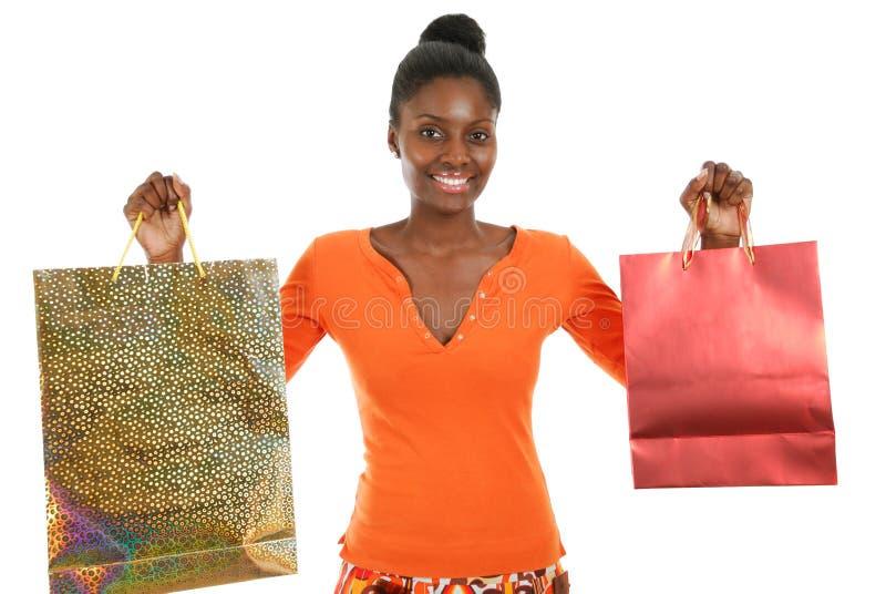 женщина покупкы афроамериканца стоковые фото