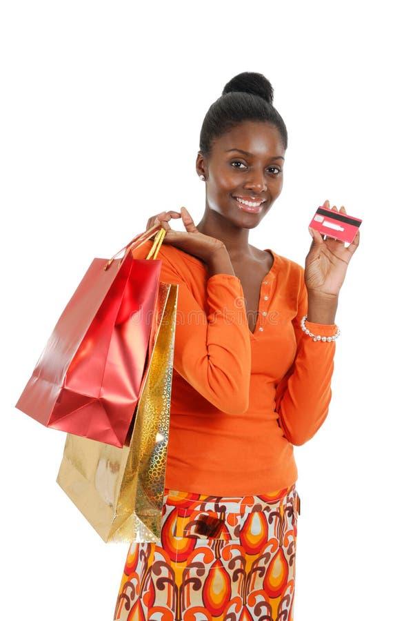 женщина покупкы афроамериканца стоковое изображение rf
