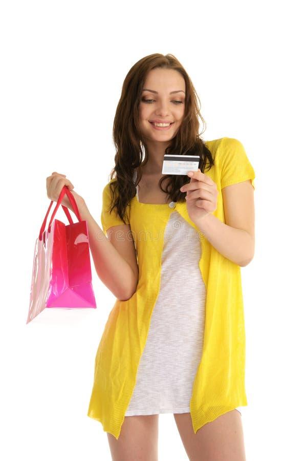 женщина покупкы кредита карточки счастливая стоковые изображения