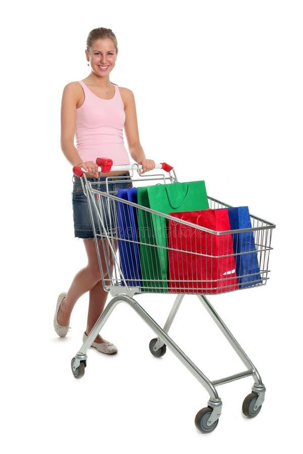 женщина покупкы тележки стоковые изображения rf