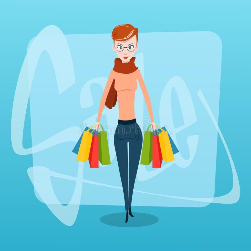 Женщина покупок с продажей сумок иллюстрация вектора