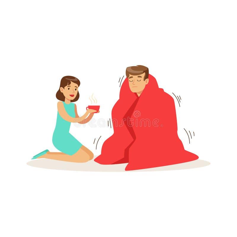Женщина помогая замороженному человеку обернутому в красном цвете одеяло, иллюстрация вектора скорой помощи иллюстрация вектора