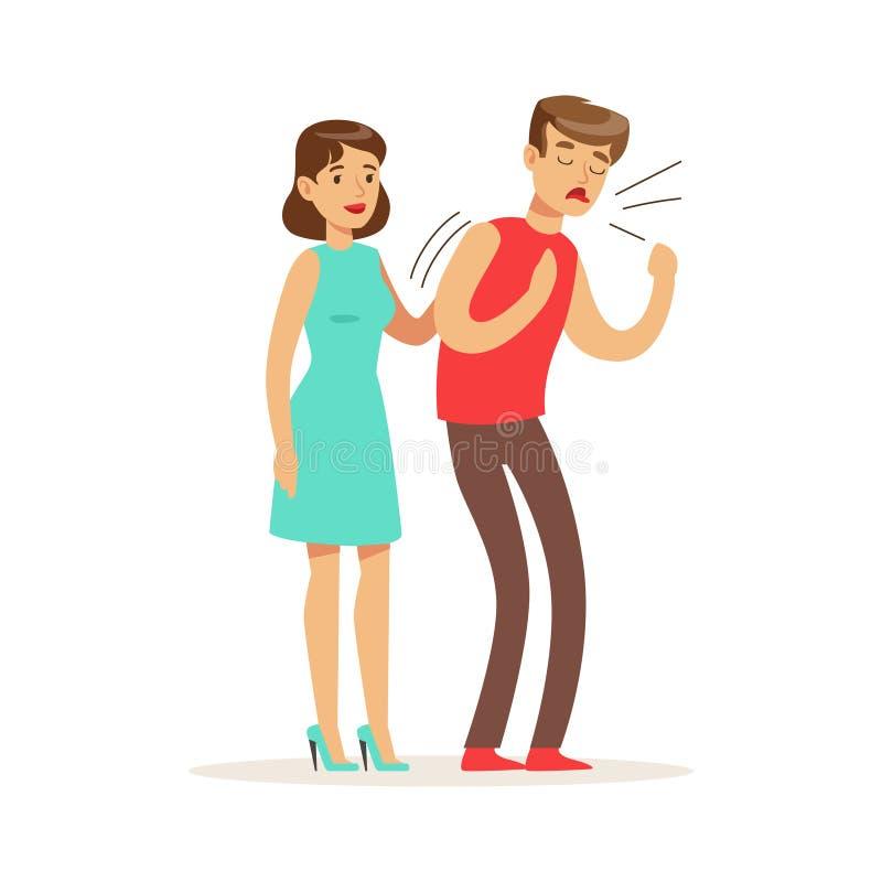 Женщина помогая душащему человеку, иллюстрации вектора скорой помощи иллюстрация вектора