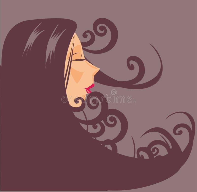 женщина портрета волос крупного плана длинняя иллюстрация вектора